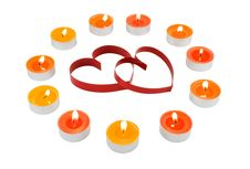 Free Small Light Candles,two Red  Hearts, On White. Royalty Free Stock Photos - 7917358