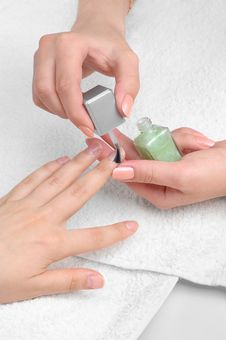 Free Applying Manicure, Moisturizing The Nails Stock Photos - 7918623
