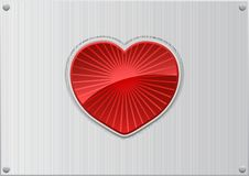 Free Vector Red Heart On Aluminum Background Stock Photos - 7918653