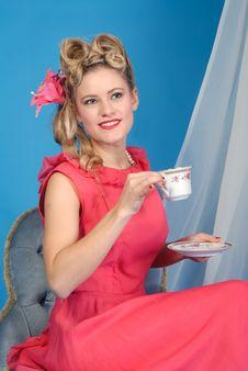 Cute Retro Girl With Tea Cup Stock Photo