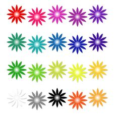 Free Set Of Isolated Colored Flowers Stock Photo - 7919230