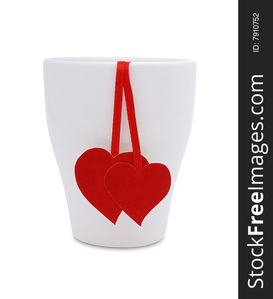 Cup with two red hearts and flower
