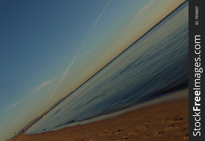 At beach. unusual view