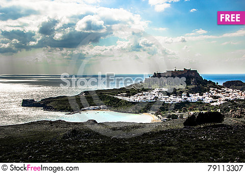 Free Rhodes- View To Lindos Royalty Free Stock Photography - 79113307