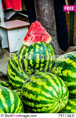 Free Kirgizstan Market- Watermelon Stock Image - 79115631