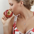 Free Young Attractive Female Kissing An Apple Royalty Free Stock Photography - 7920587
