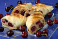 Free Rolled Pastry With Cherries Royalty Free Stock Photography - 7923247