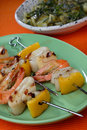 Free Shrimp, Squid And Yellow Pepper Skewers Stock Photography - 7923482