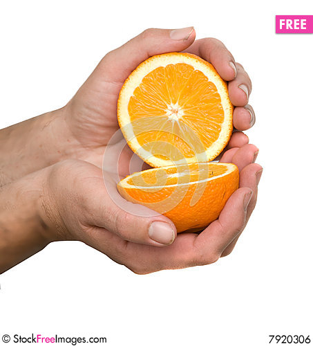 Free Hand Holding Halves Of Orange Royalty Free Stock Image - 7920306