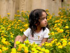 Beautiful Girl Among Flowering Plants Stock Photography