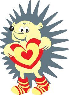 Hedgehog Valentine S With Gift Stock Photo
