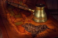 Free Coffee In Turk, Grains And Map Stock Photo - 7920480