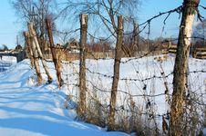 Winter In The Siberian Village Stock Image