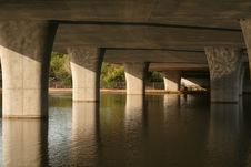 Bridge Supports In Water Royalty Free Stock Images