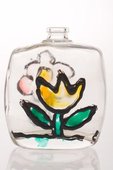 Free Bottle With Painted Flower Royalty Free Stock Photos - 7921308