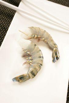 Free Raw Two Shrimps And Chopsticks Stock Photos - 7923323