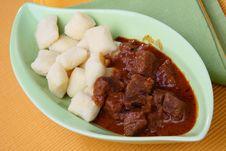 Beef Goulash With Gnocchi Stock Photo