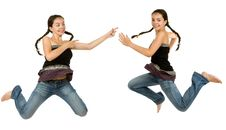 Two Identical Girls Royalty Free Stock Photos