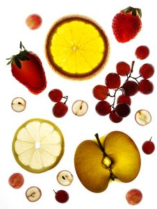 Different Fruit On White Background Royalty Free Stock Photography