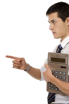 Businessman With Gigantic Pocket Calculator Royalty Free Stock Photo