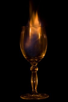 Glass, Cocktail, Fire. Stock Photo