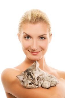 Woman With Adorable Kitten Stock Images