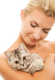 Woman With Adorable Kitten Royalty Free Stock Photography