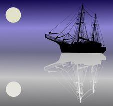Free Ship Silhouette Under Moon Royalty Free Stock Photography - 7925187