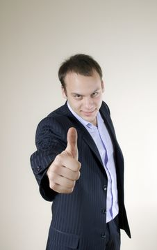 Free Young Businessman Showing Thumbs Up Stock Photo - 7925360