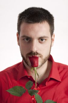 Free Young Man With Red Rose In Red Shirt Stock Photo - 7925490