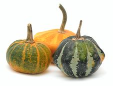 Three Fancy Pumpkins Isolated Over White Royalty Free Stock Photo
