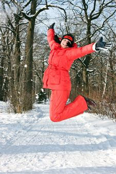 Free A Young Woman In The Winter Jump Royalty Free Stock Photos - 7927708