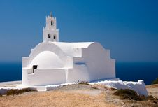 Beautiful Church In Front Of The Sea And Blue Sky Royalty Free Stock Photography