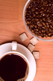 Cup Of Coffee, Beans And Sugar Royalty Free Stock Photography