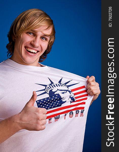 Hello, America! Funny man in white T-shirt