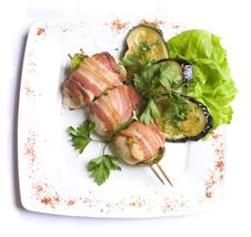 Grilled Chiken Meat Wraped In Bacon Royalty Free Stock Photo