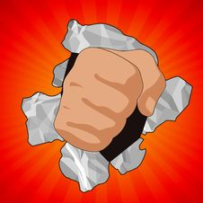 Free Fist Breaking Paper On Red Background Stock Images - 7931044