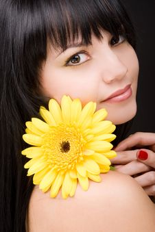 Free Young Woman With Flower Royalty Free Stock Photos - 7931248