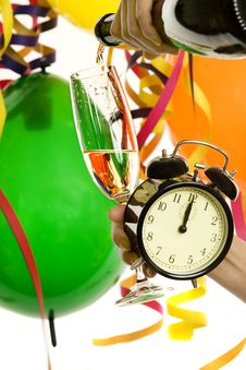 Free New Year With Champagne And Clock Royalty Free Stock Image - 7931446