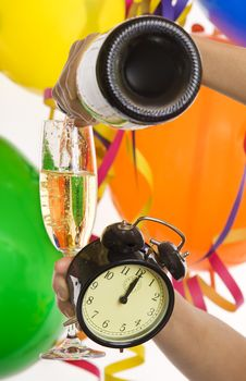 Free New Year With Champagne And Clock Royalty Free Stock Photography - 7931477