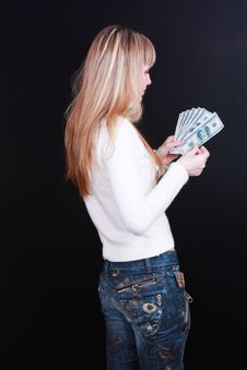 Young Girl Count Dollars Royalty Free Stock Photo