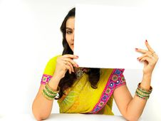 Free Woman With A Blank Placard Stock Photo - 7934100