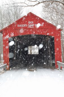 Free 1901 Covered Bridge In Winter Stock Image - 7934271