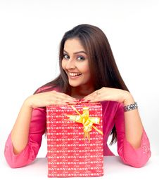 Asian Woman With A Gift Box Stock Photography