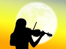 Free Violinist In The Moon Royalty Free Stock Photos - 7935078
