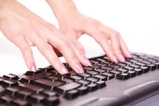 Free Close-up Of Woman�s Hand Touching Computer Keys Royalty Free Stock Images - 7935459