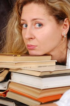 Books And Face Royalty Free Stock Photo