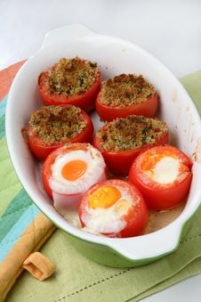 Baked Filled Tomatoes Cut In Half Stock Photo