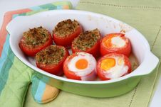 Baked Filled Tomatoes Cut In Half Royalty Free Stock Photography