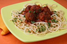 Turkey Meat Balls In Sauce With Spaghetti And Herb Royalty Free Stock Images